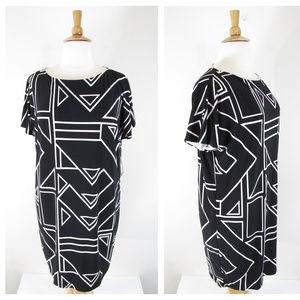 Ralph Lauren Plus Size Black White Geo Shift Dress